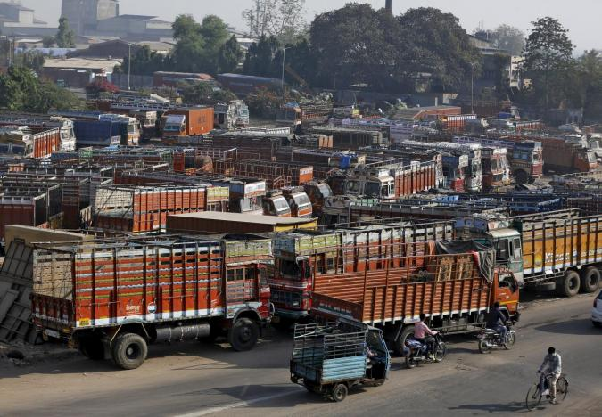 Trucks are responsible for transporting essential goods all over India. Photo: Reuters/Amit Dave