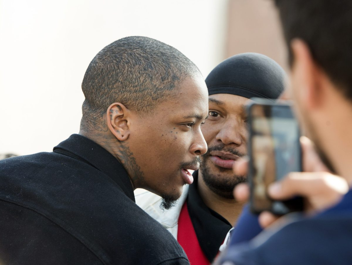 Rapper YG (left), pictured in California. Photo: AFP PHOTO / VALERIE MACON