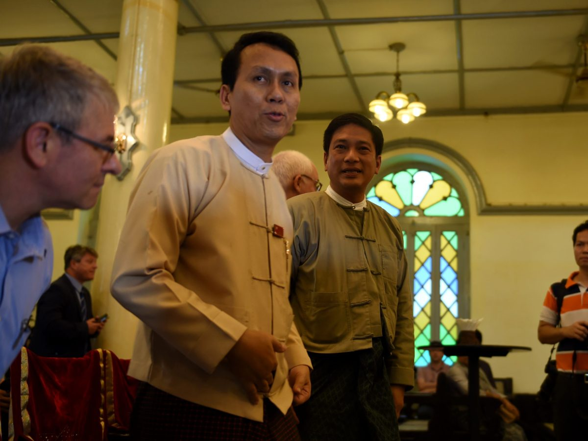Yangon Chief Minister Phyo Min Thein (left). Photo: AFP