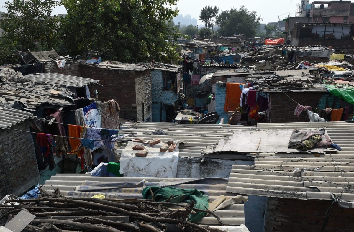 At least 65 million people live in slums across India, like this area of New Delhi. Photo: AFP