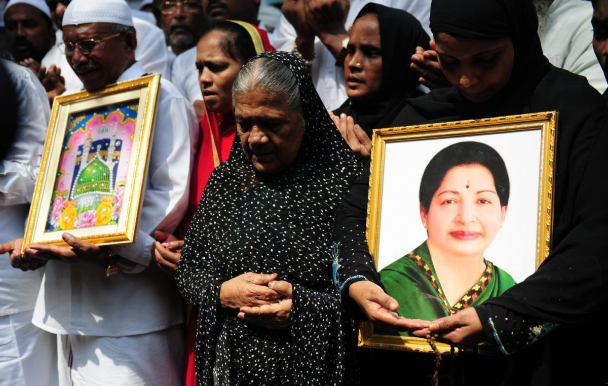 File photo of supporters of former Tamil Nadu chief minister Jayalalithaa praying when she was being treated. Photo: AFP/Arun Sankar