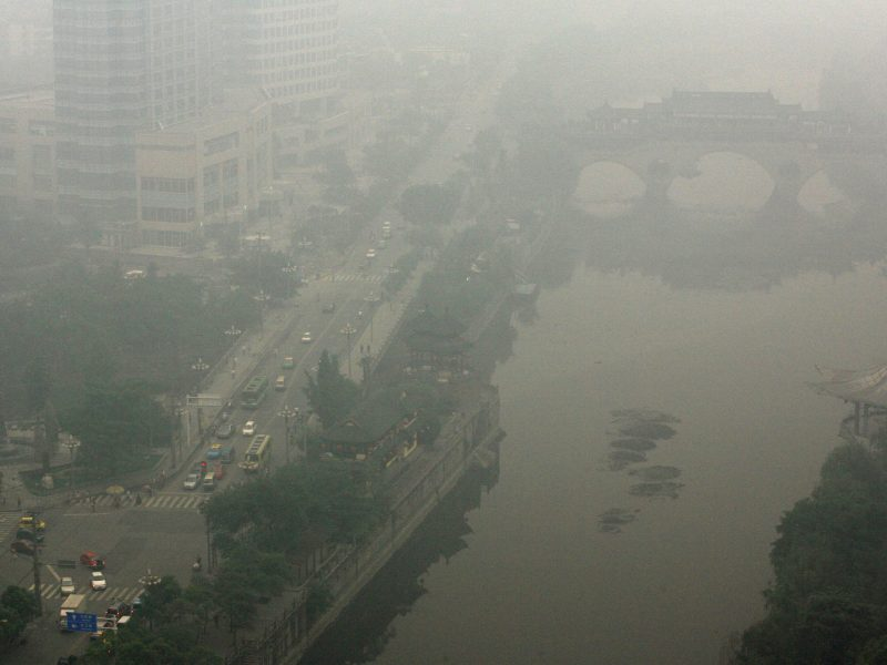 Smog covers a part of Chengdu, in southwest China's Sichuan province. Photo: AFP