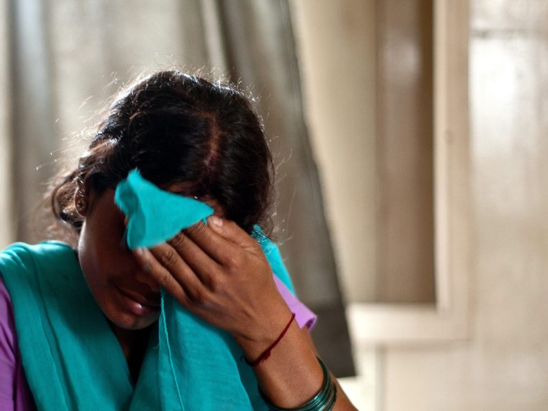 This image shows an alleged human trafficking victim who was rescued from a village in Karnal. Photo: AFP
