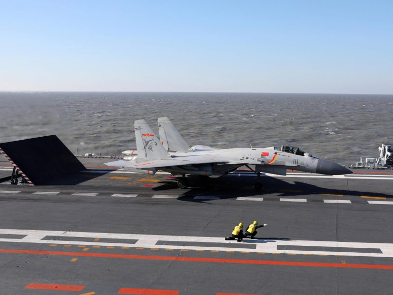 A Chinese J-15 fighter jet prepares to take off from the deck of the Liaoning aircraft carrier. Photo: AFP
