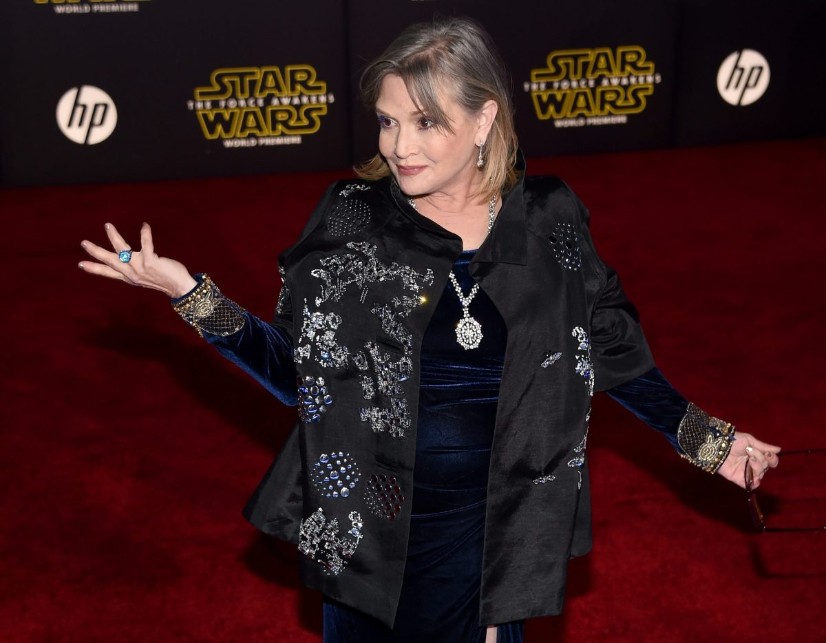 Carrie Fisher attending the premiere of Star Wars: The Force Awakens at the Dolby Theatre in Hollywood, California. Photo: AFP