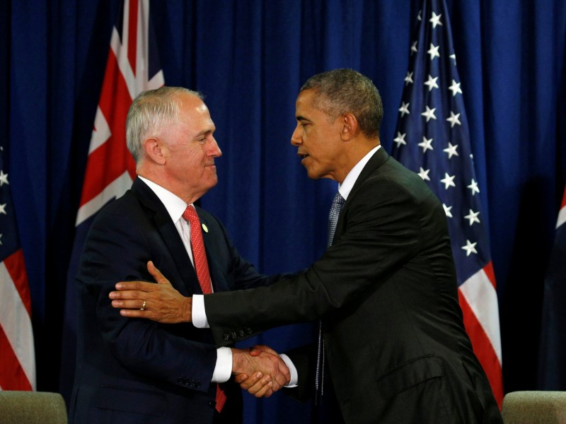 A crack in strong ties? US President Barack Obama and Australian Prime Minister Malcolm Turnbull meet during the Apec Summit in Lima, Peru November 20, 2016. Photo: Reuters/Kevin Lamarque