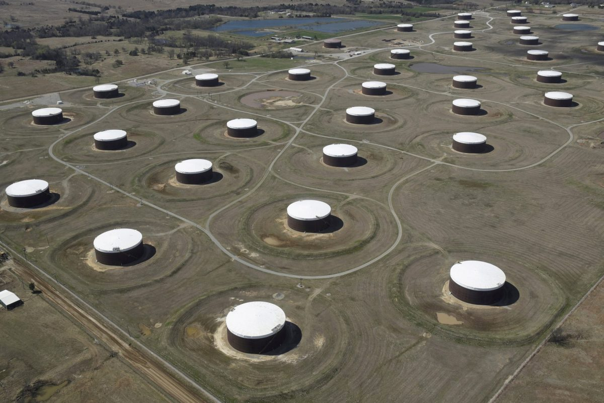Crude oil storage tanks in Cushing, Oklahoma. Oil prices are likely to stick at the mid-US$50 range. Photo: Reuters/Nick Oxford/File Photo