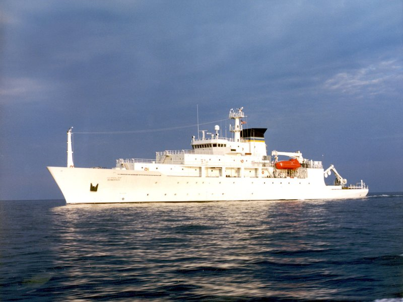 The oceanographic survey ship, USNS Bowditch, is shown September 20, 2002, which deployed an underwater drone seized by a Chinese Navy warship in international waters in South China Sea, December 16, 2016. Photo: Reuters/Courtesy US Navy