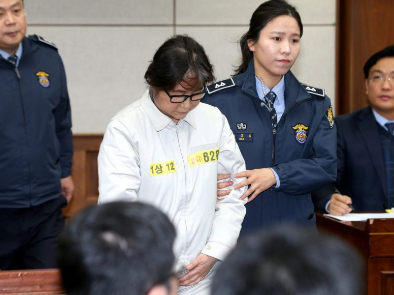 Choi Soon-sil, the close friend of South Korean President Park Geun-hye, who is at the center of the influence-peddling scandal. Choi appeared at a court hearing earlier this week. Now an arrest warrant has been issued for her daughter who is in Germany. Photo: Reuters