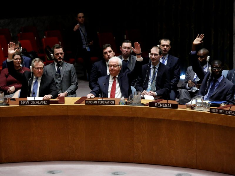 The United Nations Security Council votes on a resolution aimed at ensuring that U.N. officials can monitor evacuations from besieged parts of the Syrian city of Aleppo, at the United Nations in Manhattan, New York City, U.S., December 19, 2016. REUTERS/Andrew Kelly