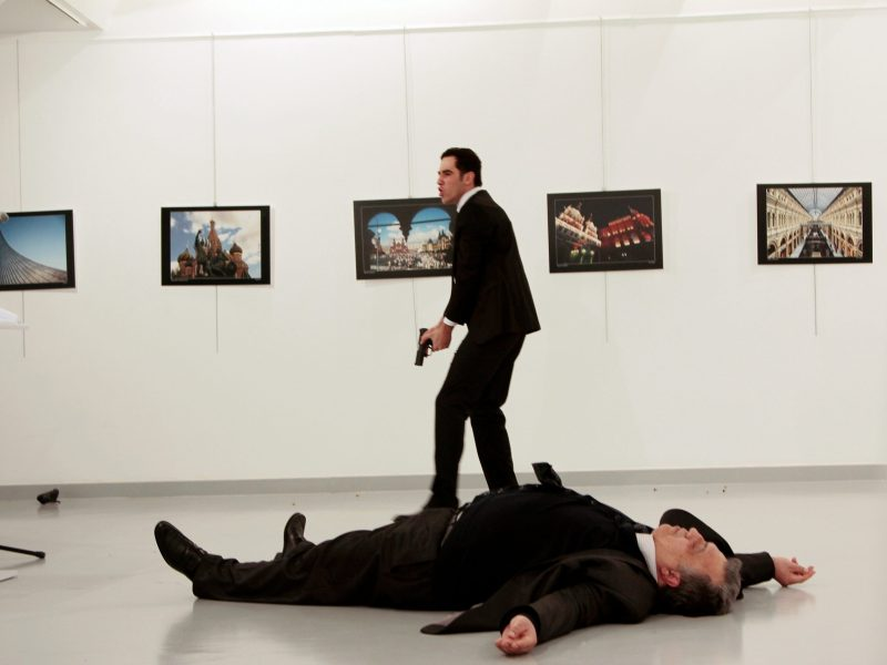 REFILE ADDITIONAL CAPTION INFO ATTENTION EDITORS - VISUAL COVERAGE OF SCENES OF DEATH  Russian Ambassador to Turkey Andrei Karlov lies on the ground after he was shot by Mevlut Mert Altintas at an art gallery in Ankara, Turkey, December 19, 2016. Hasim Kilic/Hurriyet via REUTERS ATTENTION EDITORS - THIS PICTURE WAS PROVIDED BY A THIRD PARTY. FOR EDITORIAL USE ONLY. NO RESALES. NO ARCHIVE. TURKEY OUT. NO COMMERCIAL OR EDITORIAL SALES IN TURKEY. TPX IMAGES OF THE DAY