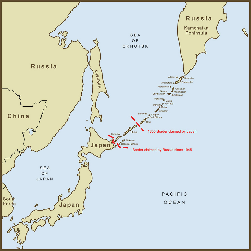 Map of Kuril Island chain defining pre- and post-WWII boundaries.
