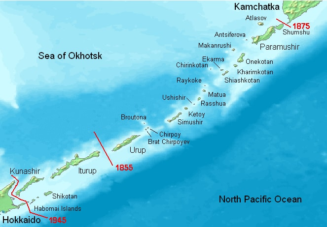 A map of the Kuril Islands in the Sea of Okhotsk. Source: Wikimedia Commons
