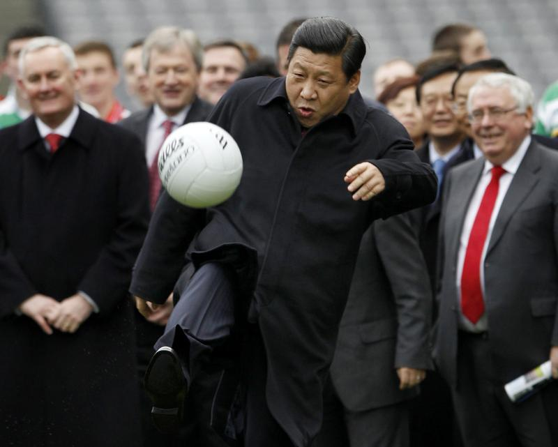 Chinese President Xi Jinping wants to see his country become a footballing superpower. He was pictured showing off his skills during a visit to Croke Park in Dublin, Ireland in 2012 when he was vice-president. Photo: Reuters/David Moir