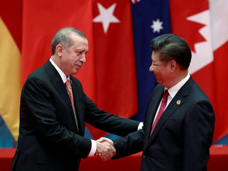 New order: Turkish President Tayyip Erdogan and Chinese Presdient Xi Jinping. Photo: Reuters/Damir Sagolj