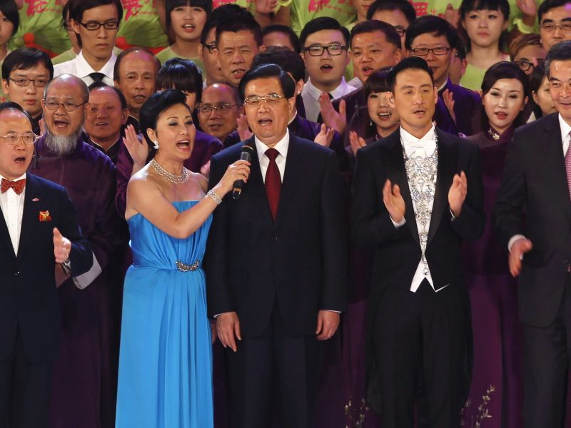 Relay team: President Hu Jintao sings with outgoing Chief Executive Donald Tsang. and CY Leung (R) during a 2012 variety show in Hong Kong ahead of the 15th anniversary of the territory's handover to Chinese sovereignty. Photo: Reuters/Bobby Yip