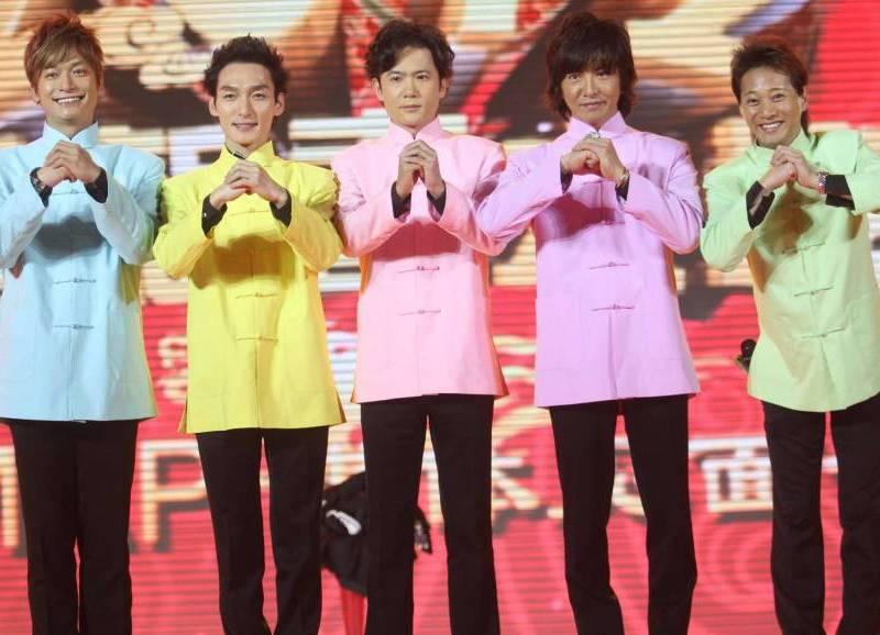 J-pop ambassadors: The members of SMAP are (from left) Shingo Katori, Tsuyoshi Kusanagi, Goro Inagaki, Takuya Kimura and Masahiro Nakai. In January 2012 the group went to China to take part in the Shanghai Dragon TV Spring Festival gala. | LI ZHENG SH / IMAGINECHINA VIA AP