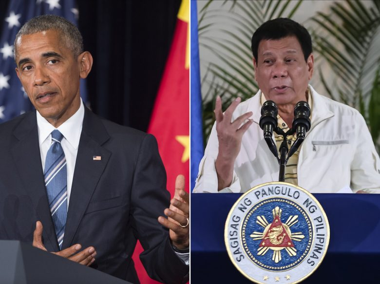 This combination image of two photographs taken on September 5, 2016 shows, at left, US President Barack Obama speaking during a press conference following the conclusion of the G20 summit in Hangzhou, China, and at right, Philippine President Rodrigo Duterte speaking during a press conference in Davao City, the Philippines, prior to his departure for Laos to attend the ASEAN summit.   US President Barack Obama on September 5 called a planned meeting with Rodrigo Duterte into question after the Philippine leader launched a foul-mouthed tirade against him.  / AFP PHOTO / Saul LOEB AND MANMAN DEJETO