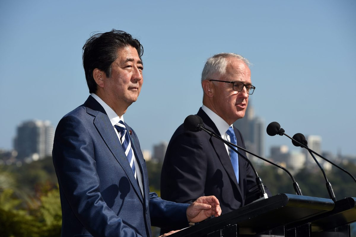 Japan's Prime Minister Shinzo Abe speaks during a joint press conference with Australian counterpart Malcolm Turnbull at Kirribilli House in Sydney on January 14, 2017. / AFP PHOTO / SAEED KHAN