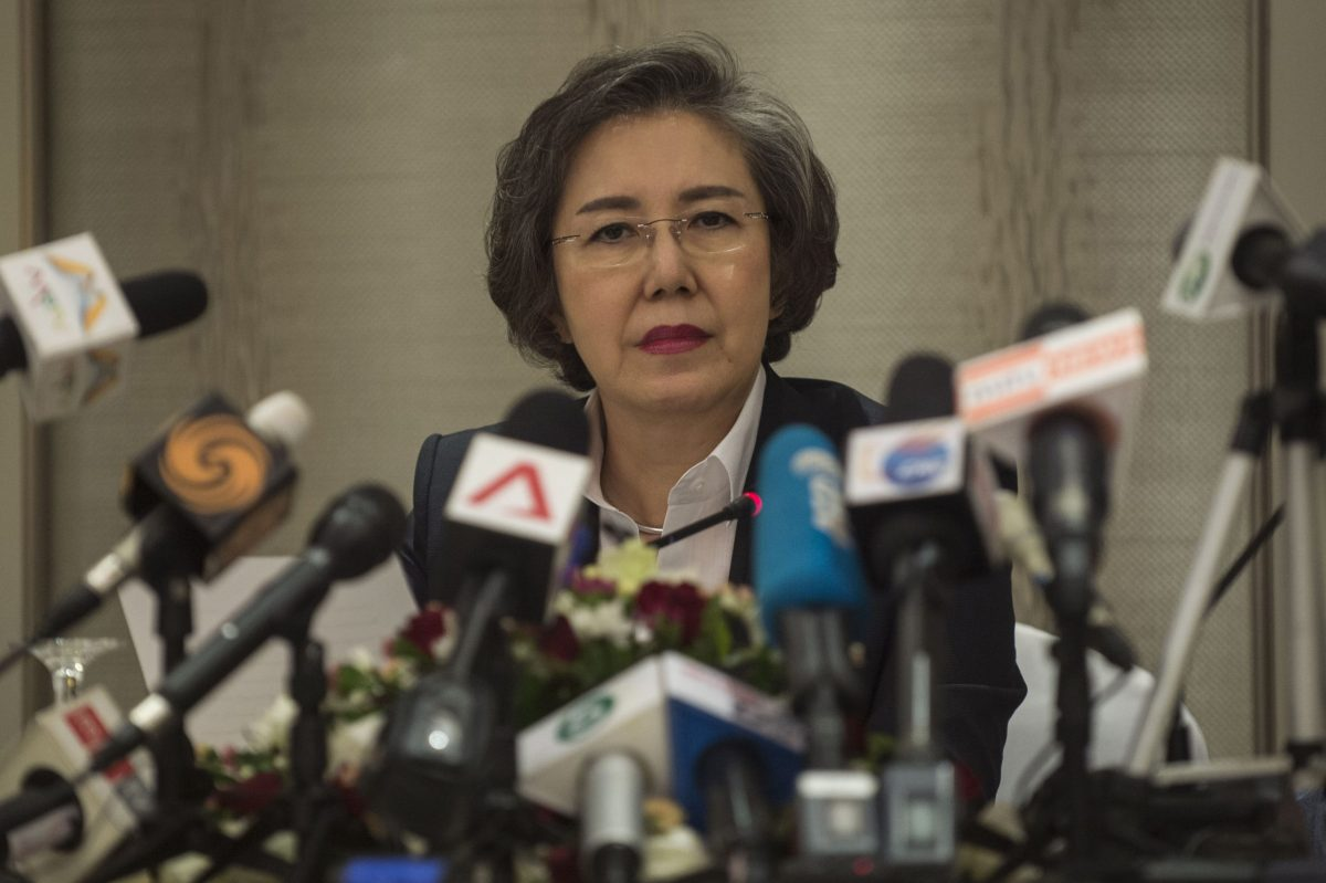 UN special rapporteur on Myanmar Yanghee Lee conducts a press conference in Yangon on January 20, 2017 during the conclusion of a 12-day mission to investigate escalating violence in Myanmar's restive ethnic border areas.The government had denied UN human rights official Yanghee Lee access to violence-hit parts of Shan and Kachin states during her 12-day monitoring mission. AFP PHOTO / ROMEO GACAD
