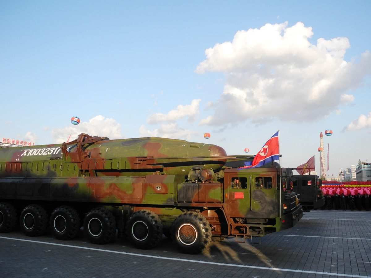 AKN-08 intercontinental ballistic missile on display during a military parade on the 70th anniversary of the founding of the ruling Workers' Party, on Kim Il-sung Square in Pyongyang, North Korea, 10 October 2015. Photo: Joern Petring/DPA