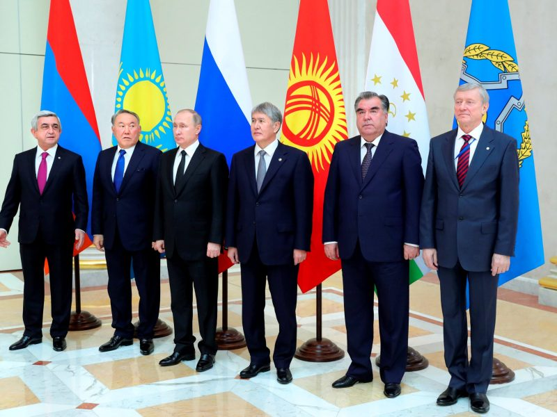 (L-R) Presidents Serzh Sargsyan of Armenia, Nursultan Nazarbayev of Kazakhstan,  Vladimir Putin of Russia, Almazbek Atambayev of Kyrgyzstan, Emomali Rahmon of Tajikistan and the organization's Secretary General Nikolai Bordyuzha pose for an official photo at a session of the Collective Security Treaty Organization (CSTO) in St. Petersburg, Russia December 26, 2016.  Sputnik/Michael Klimentyev/Kremlin/via REUTERS    ATTENTION EDITORS - THIS IMAGE WAS PROVIDED BY A THIRD PARTY. EDITORIAL USE ONLY.