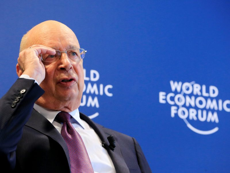 World Economic Forum Executive Chairman and founder Klaus Schwab talks about the January meeting. Photo: Reuters/Pierre Albouy