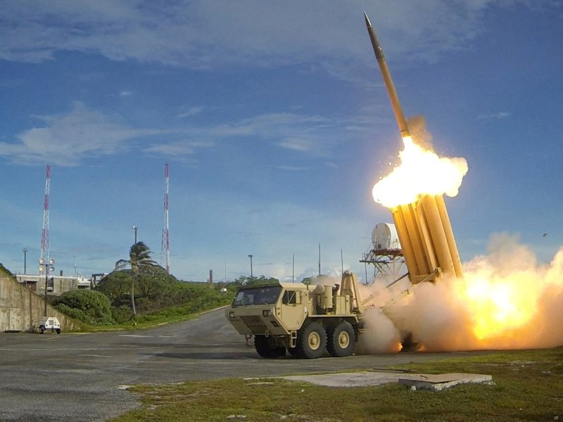 A Terminal High Altitude Area Defense (THAAD) interceptor during a successful intercept test, in this undated handout photo provided by the U.S. Department of Defense, via Reuters