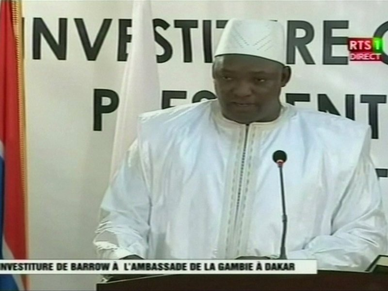Gambia's new leader Adama Barrow speaks after swearing in as President at the Gambian embassy in Dakar, Senegal, in this still image taken from video, January 19, 2017. RTS via Reuters TV