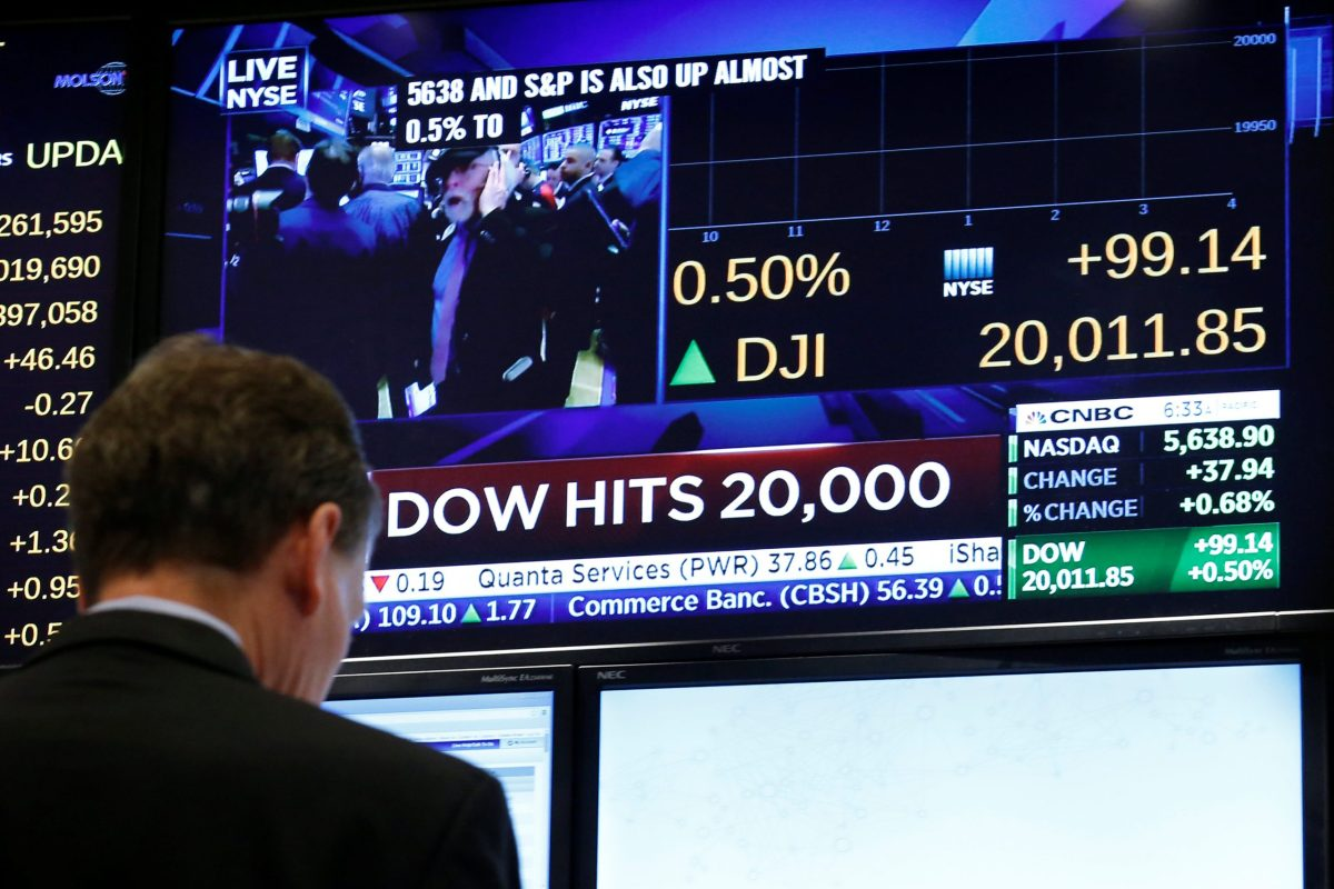 A screen shows the Dow Jones Industrial Average after it passes the 20,000 mark on the New York Stock Exchange, January 25, 2017. Photo: Reuters, Brendan McDermid