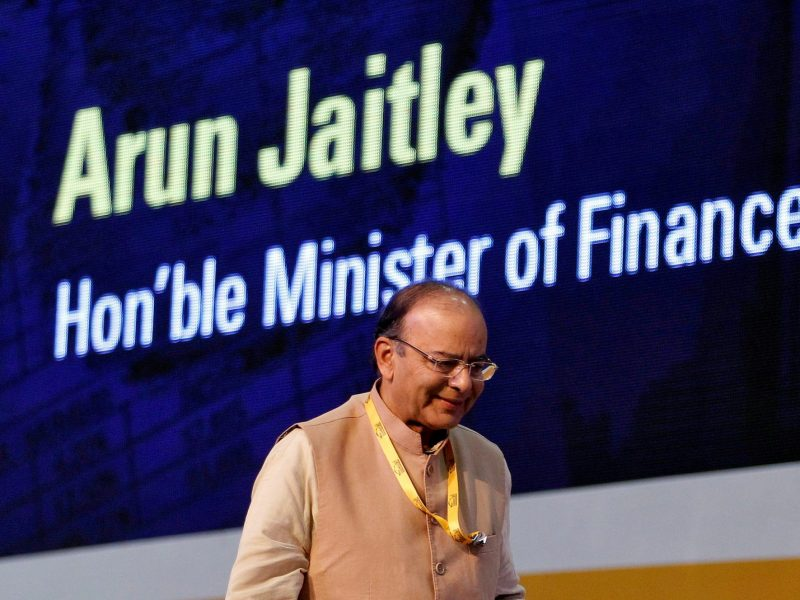 Indian Finance Minister Arun Jaitley at the Vibrant Gujarat investor summit in Gandhinagar on January 11, 2017. Photo: Reuters / Amit Dave