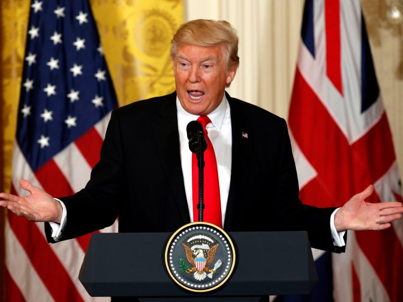 US President Donald Trump speaks during a joint news conference with British Prime Minister Theresa May at the White House in Washington.  Photo: Reuters/Kevin Lamarque