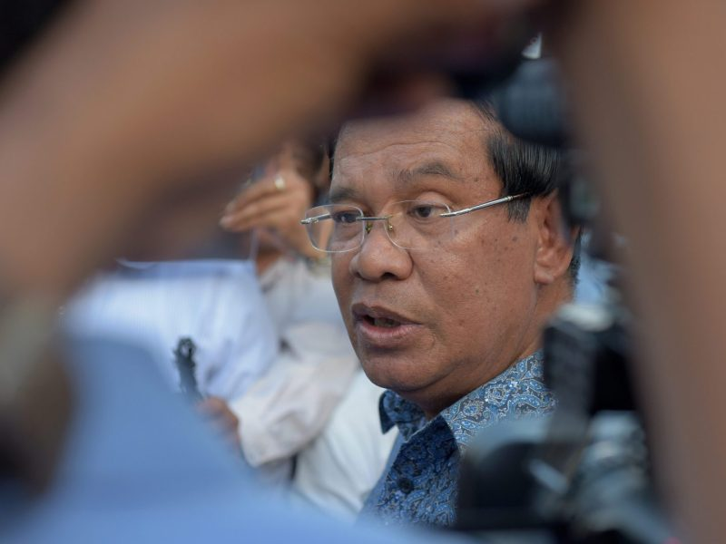 Cambodian Prime Minister Hun Sen speaks to media in a file photo. Photo: AFP/Tang Chhin Sothy