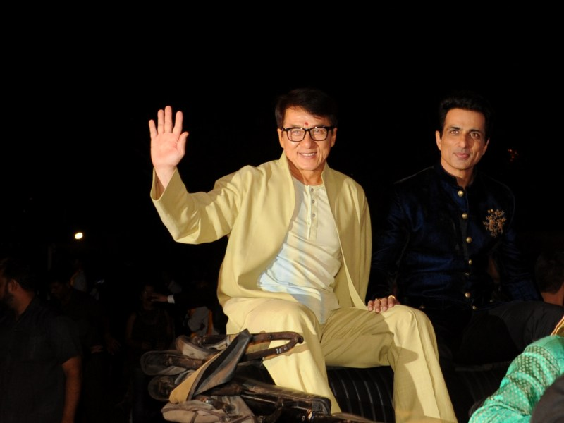 Hong Kong action movie star Jackie Chan with  Bollywood actor Sonu Sood promoting Kung Fu Yoga. Photo: AFP