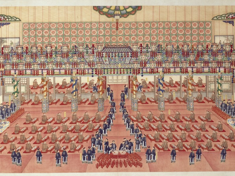 Comprehensive illustrated record of the grand wedding of Zaitian (Emperor Guangxu). Guangxu period (1875-1908). Painted by Qingkuan et al. Collection of The Palace Museum. Photo: Hong Kong Heritage Museum