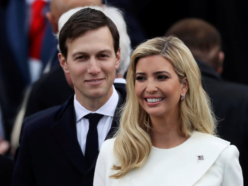 Ivanka Trump and husband Jared Kushner arrive at the presidential inauguration ceremonies in Washington. REUTERS