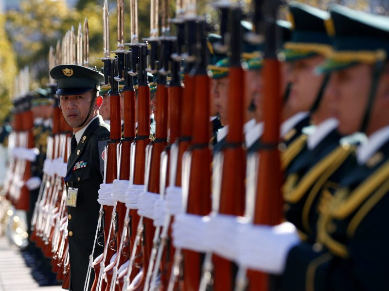 Members of Japan's Self-Defence Force's honour guard prepare for a ceremony for U.S. Defense Secretary Jim Mattis. Photo: Reuters, Toru Hanai