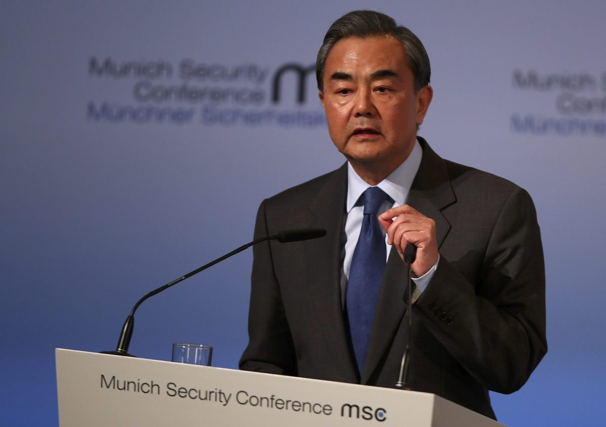 Chinese Foreign Minister Wang Yi speaks at the 53rd Munich Security Conference in Munich, Germany, February 17, 2017.  REUTERS/Michael Dalder