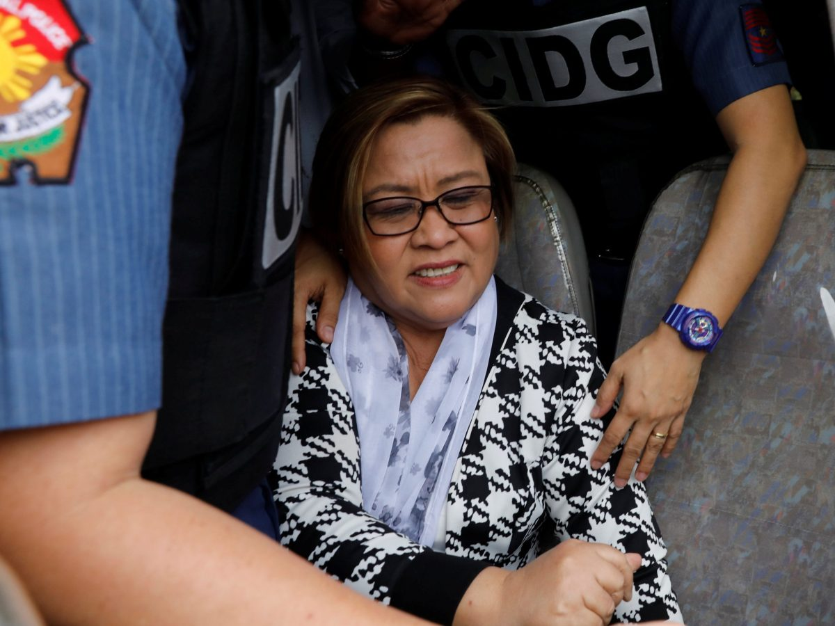 Philippine Senator Leila De Lima is pictured inside a police van after appearing at a Muntinlupa court on drug charges in Muntinlupa, Metro Manila, Philippines February 24, 2017. Photo: Erik De Castro/Reuters