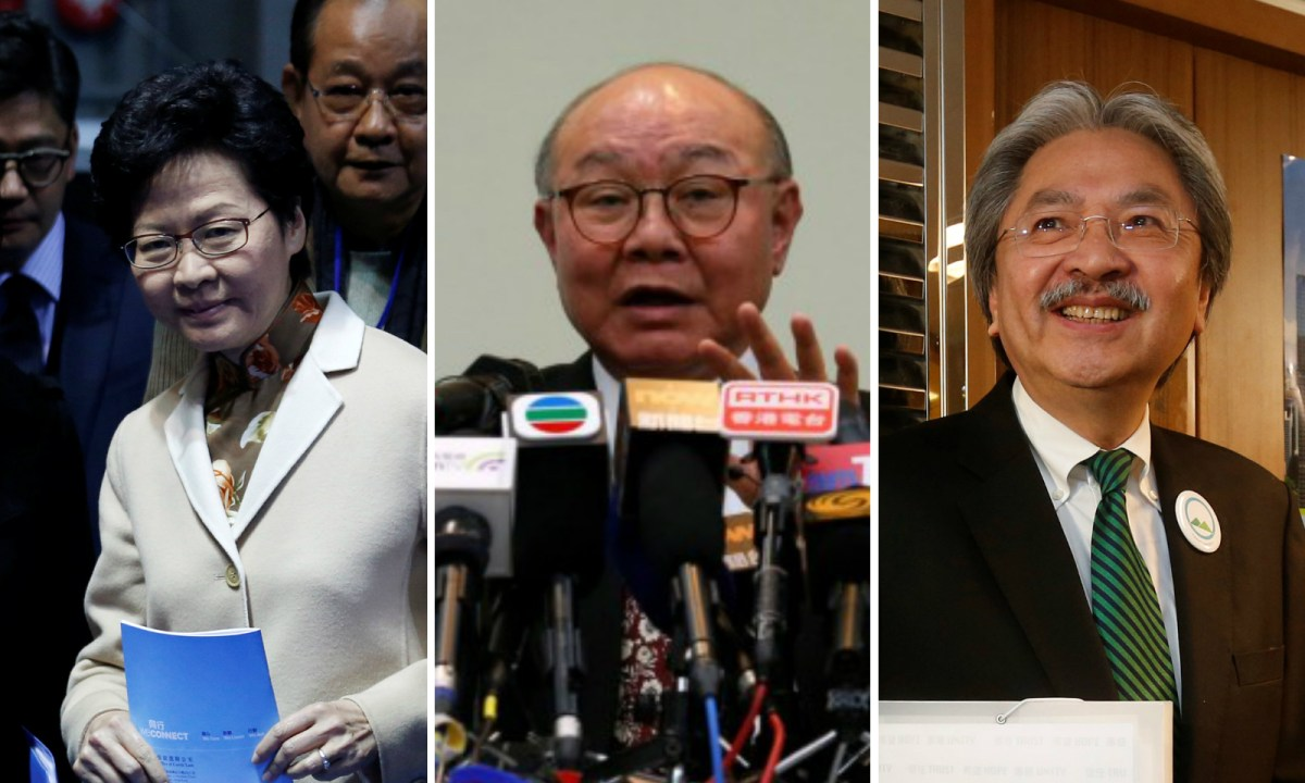 Former Hong Kong chief secretary Carrie Lam, Judge Woo Kwok-hing and former financial secretary John Tsang Chun-wah (from left). Photo: Reuters