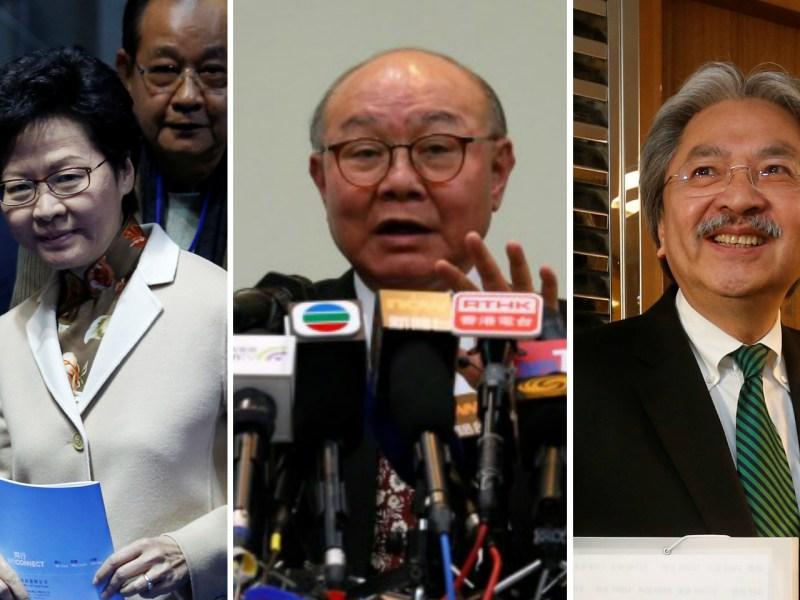Former Hong Kong chief secretary Carrie Lam, Judge Woo Kwok-hing and former financial secretary John Tsang Chun-wah (from left). Photo: Reuters