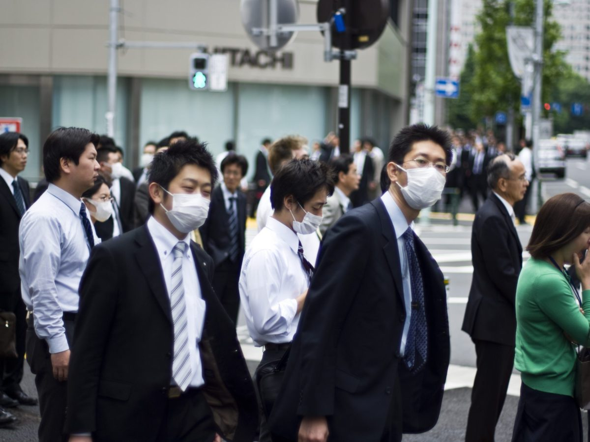Japanese people wearing masks during the Japanese swine flu outbreak in May 2009.Photo: Wikimedia Commons