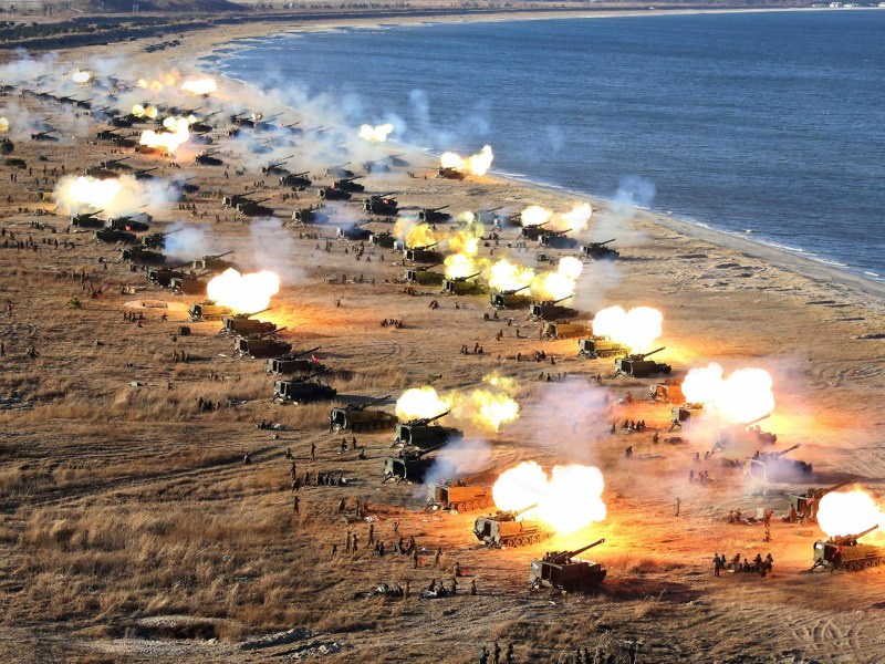 Sea shells: North Korea has the capacity to inflict real pain on the South. Photo: AFP via KCNA