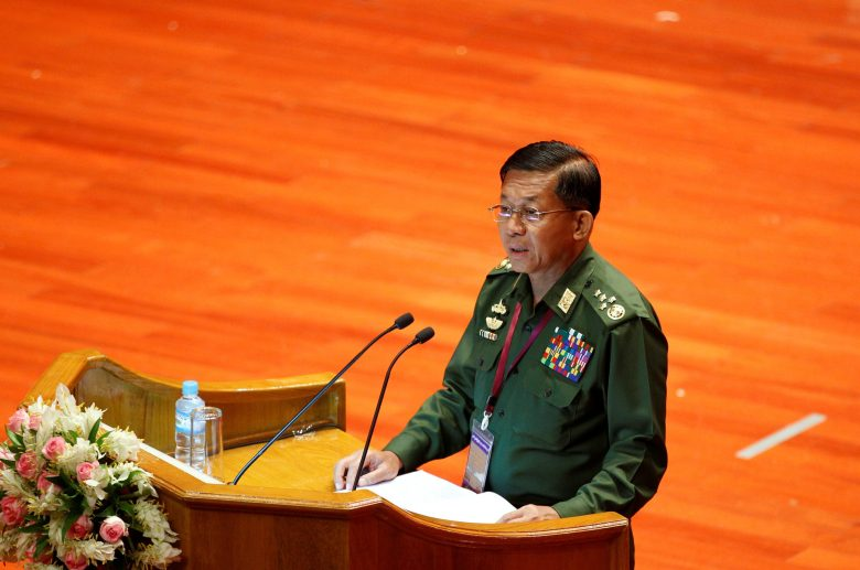 Myanmar Military Commander in Chief Senior General Min Aung Hlaing addresses the opening ceremony of the 21st Century Panglong Conference in Naypyitaw, Myanmar August 31, 2016. REUTERS/Soe Zeya Tun  - RTX2NPCU
