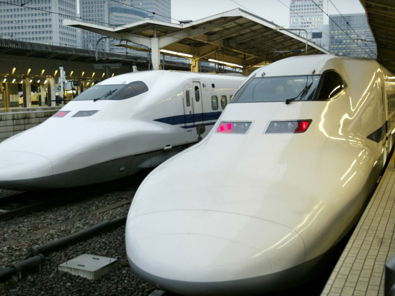 Japan's bullet train, or Shinkansen, at Tokyo station on March 25, 2004.  Photo: Reuters