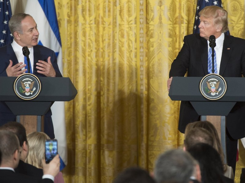 US President Donald Trump and Israeli Prime Minister Benjamin Netanyahu during a joint press conference at the  White House on Feb. 15. Photo: Saul Loeb, AFP