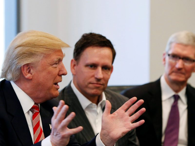 FILE PHOTO -  U.S. President-elect Donald Trump speaks as PayPal co-founder and Facebook board member Peter Thiel looks on during a meeting with technology leaders at Trump Tower in New York U.S., December 14, 2016. REUTERS