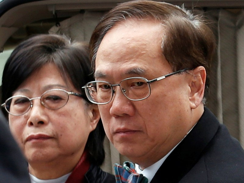 Former Hong Kong Chief Executive Donald Tsang arrives at court with his wife Selina before being jailed for misconduct in public office. February 20, 2017. REUTERS/Bobby Yip