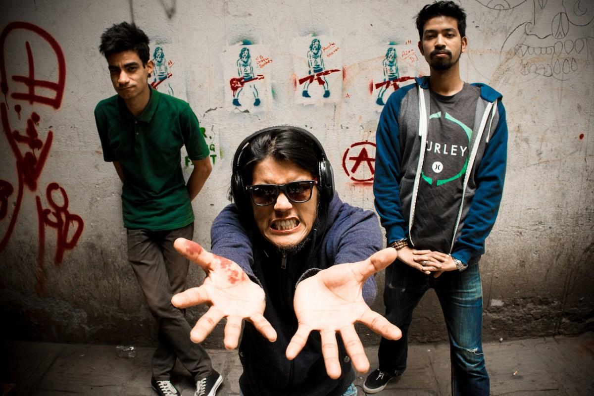 Nepali punk rockers Squirt Guns: Sandesh Shakya (left), Dipesh Gurung (middle) Abinash Shrestha. Photo: Courtesy of Squirt Guns