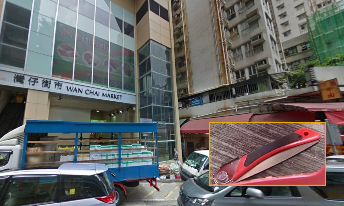 A domestic worker was hit by a falling knife (inset) near Wan Chai market. Photo: Google Map, Now TV